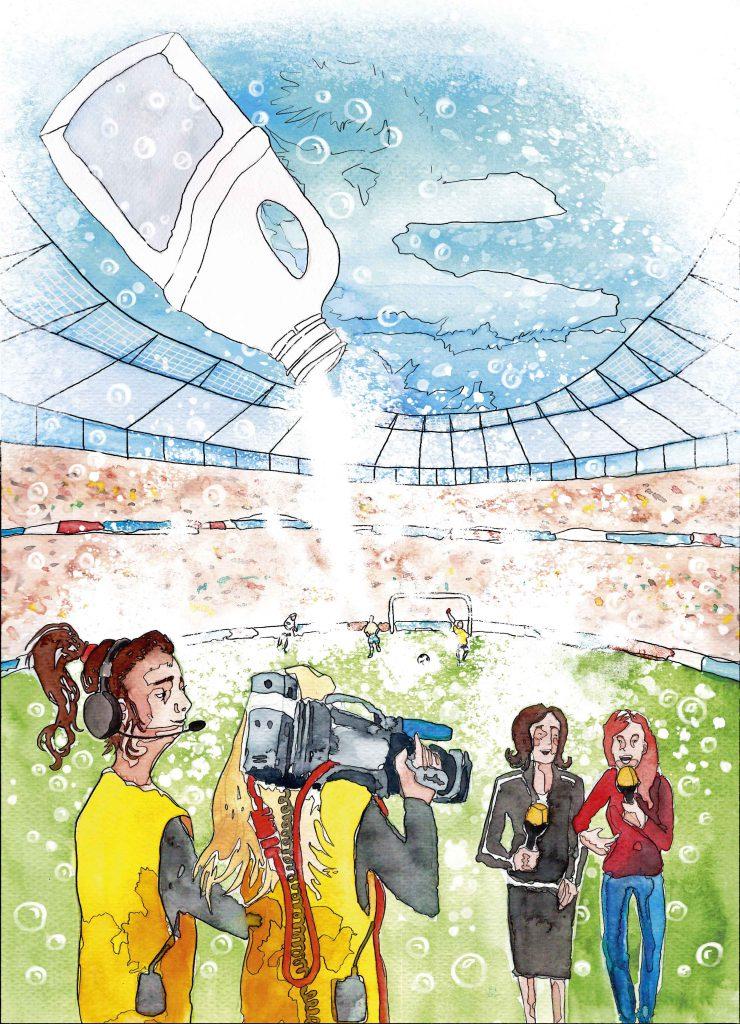Stadion mit Sport Report Tazerinnen