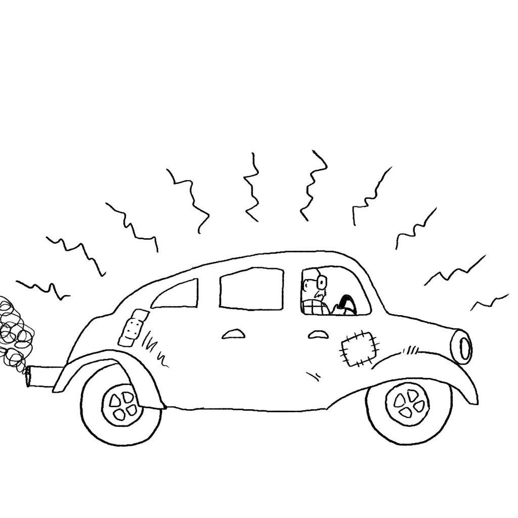 opa fährt auto