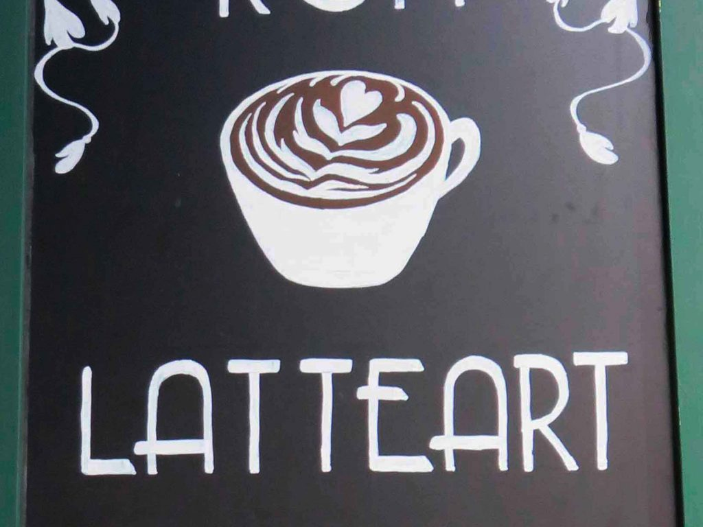 blackboard latte art coffee cult