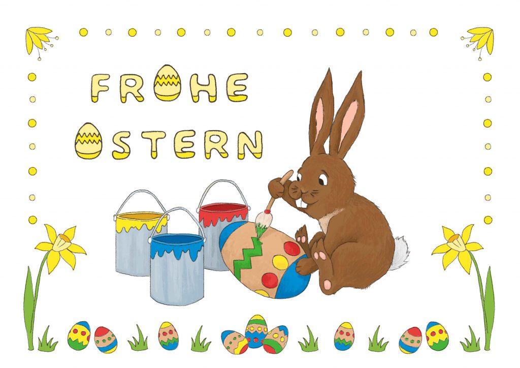 Osterhase Eiermalen Frohe Ostern