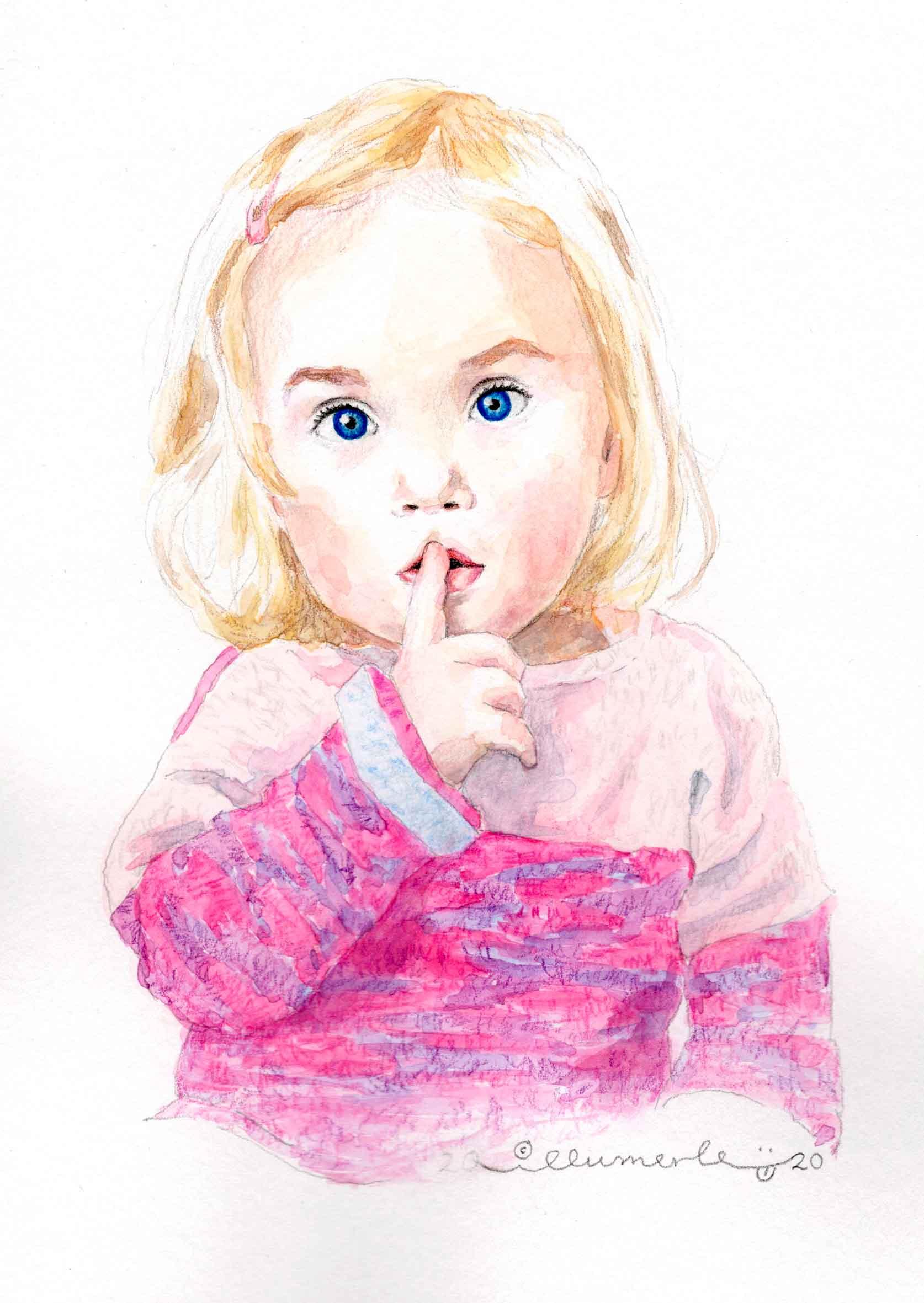 porträt-aquarell-mila-kleinkind